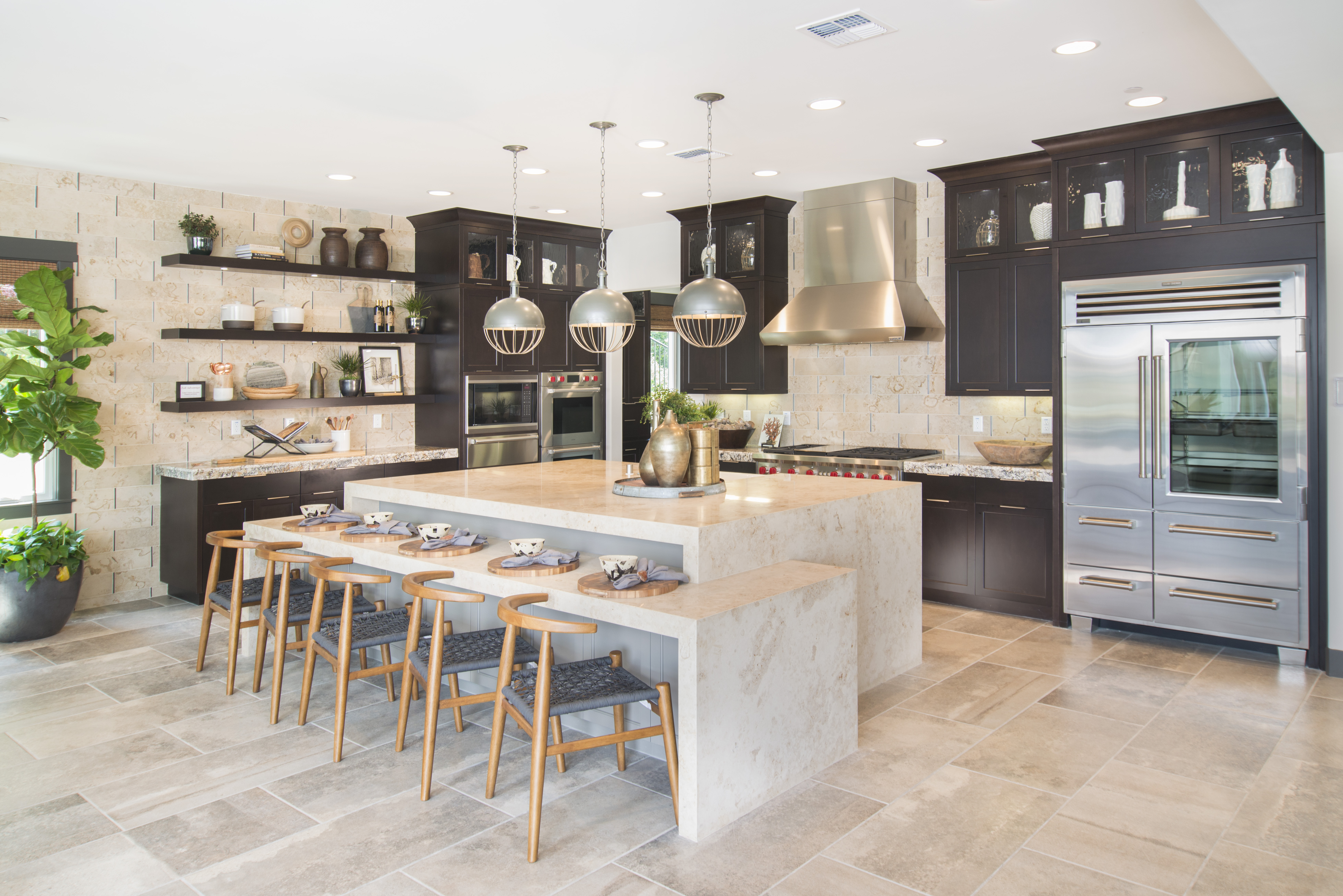 Maple Transitional Kitchen, Shaker Style Finished in a Dark Espresso Stain with a Beautiful Painted Island and Stainless Steel Appliances