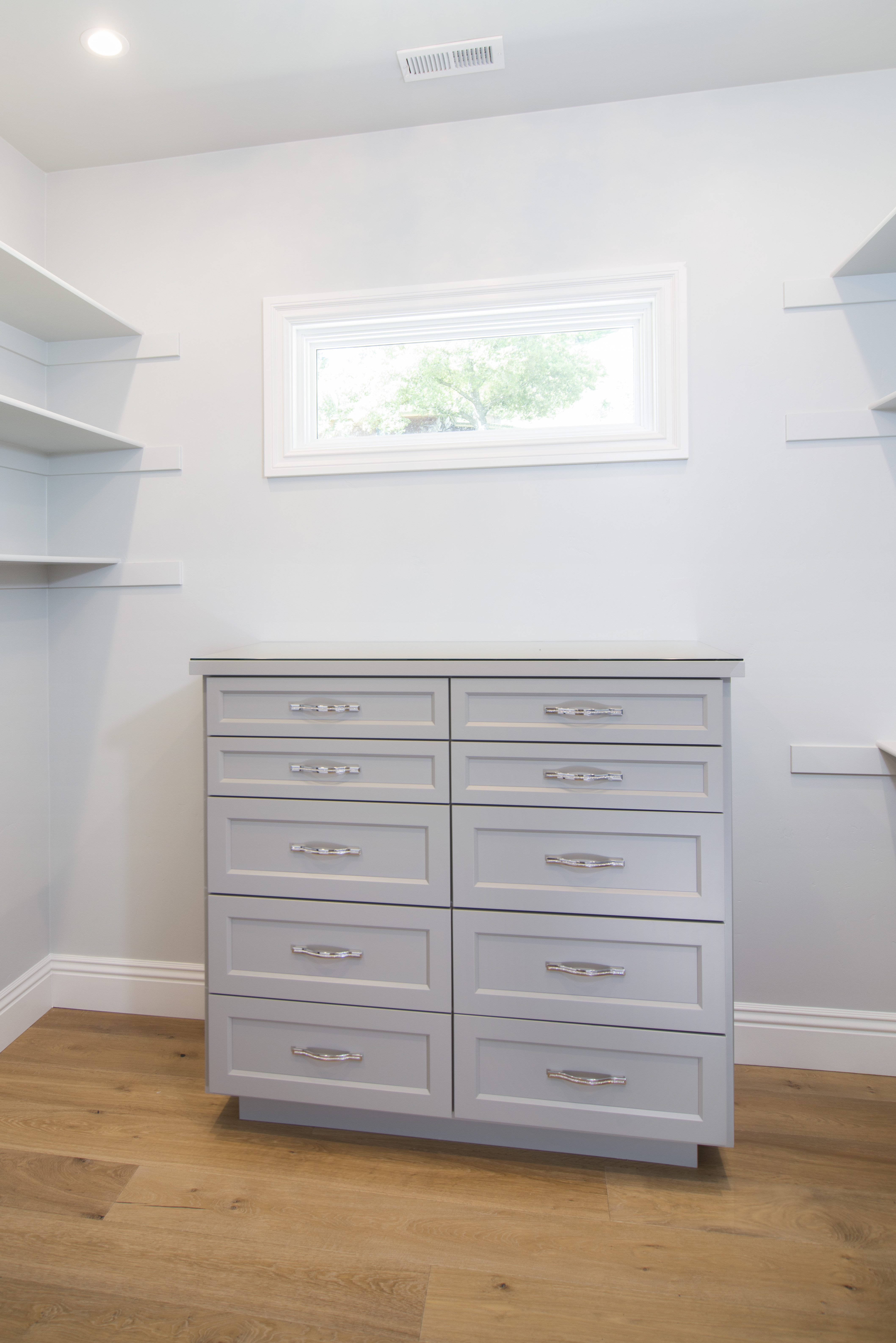 Grey Built-In Dresser with Diamond Silver Handles