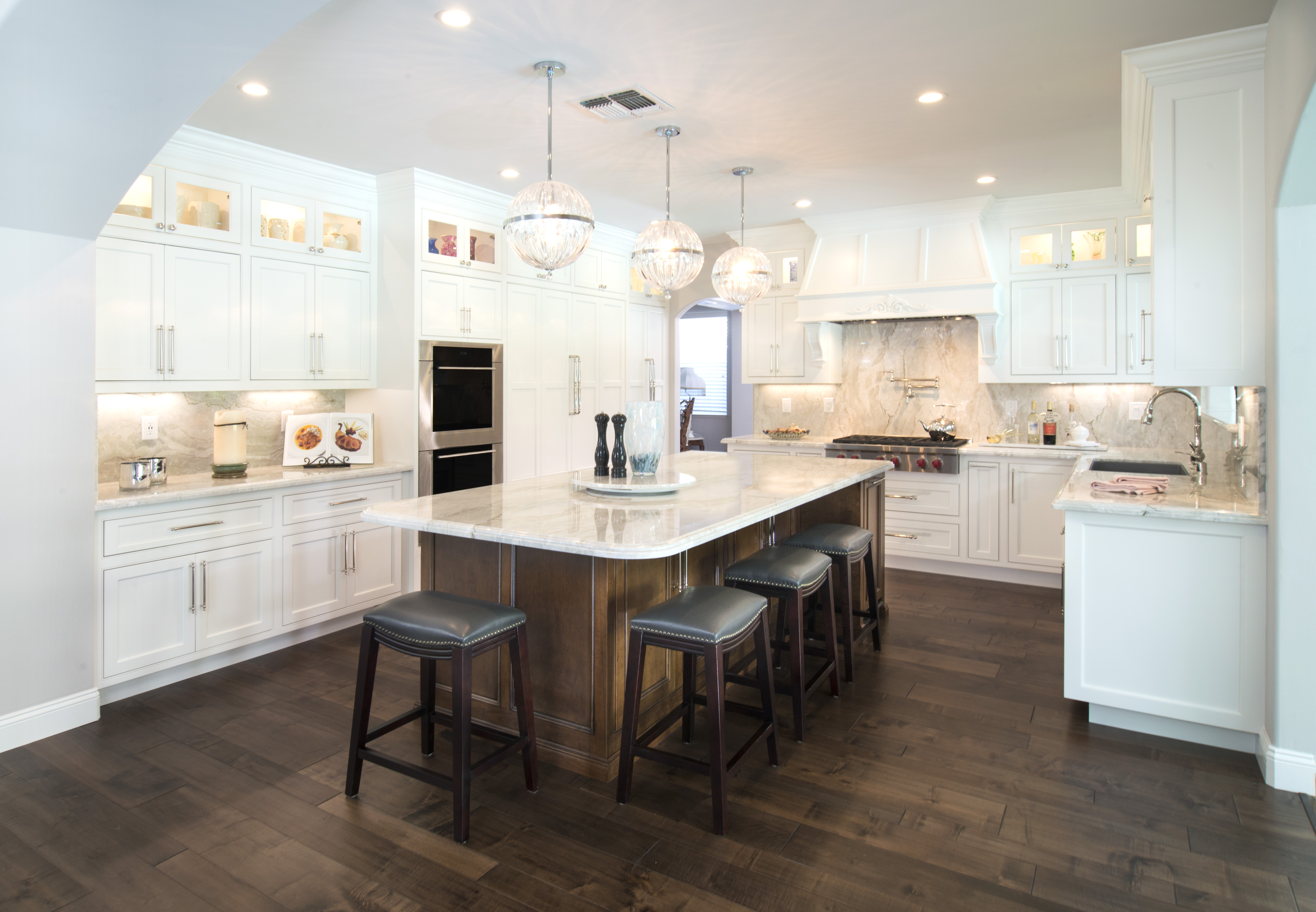 Two Toned Transitional Kitchen with Glass Doors
