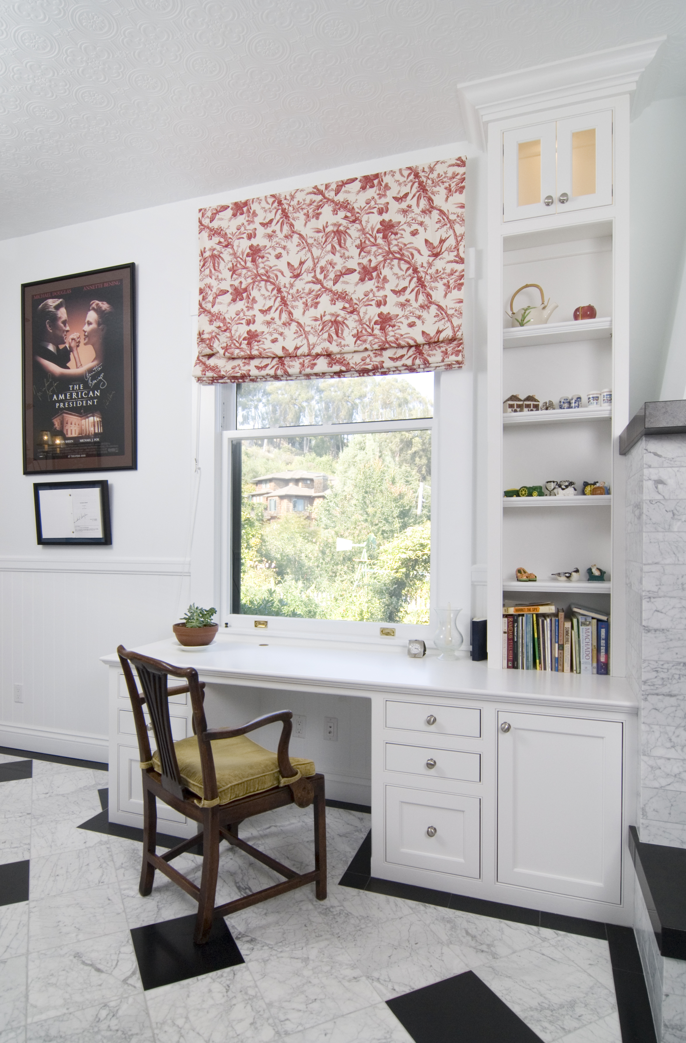 White Transitional Built-In Desk with Open Shelves, Glass Doors and Chrome  Knobs
