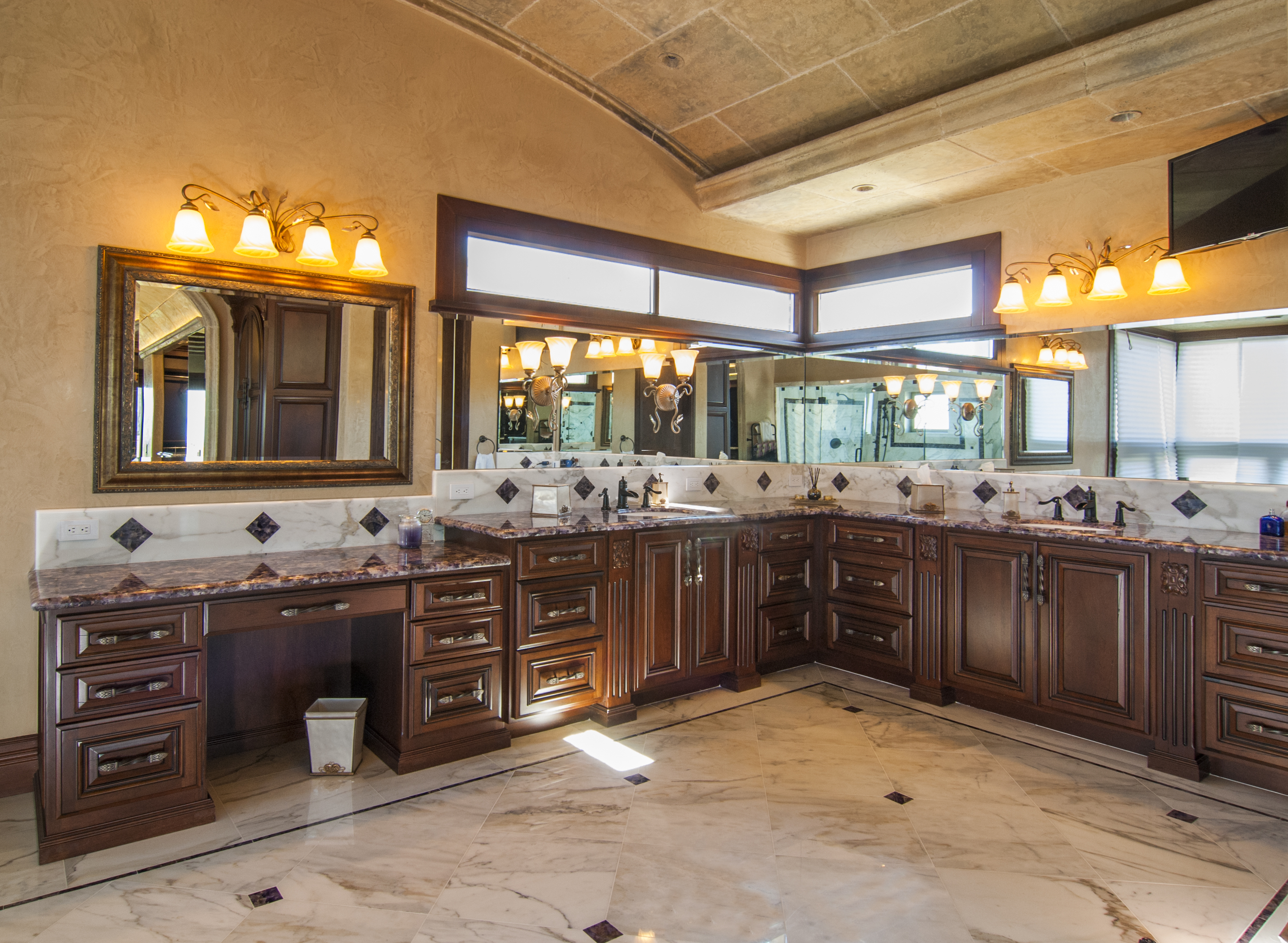 traditional master bathroom updated traditional master bathroom vanity with double sinks oil rubbed bronze faucets and beautiful granite counter job no 24883 precision cabinets