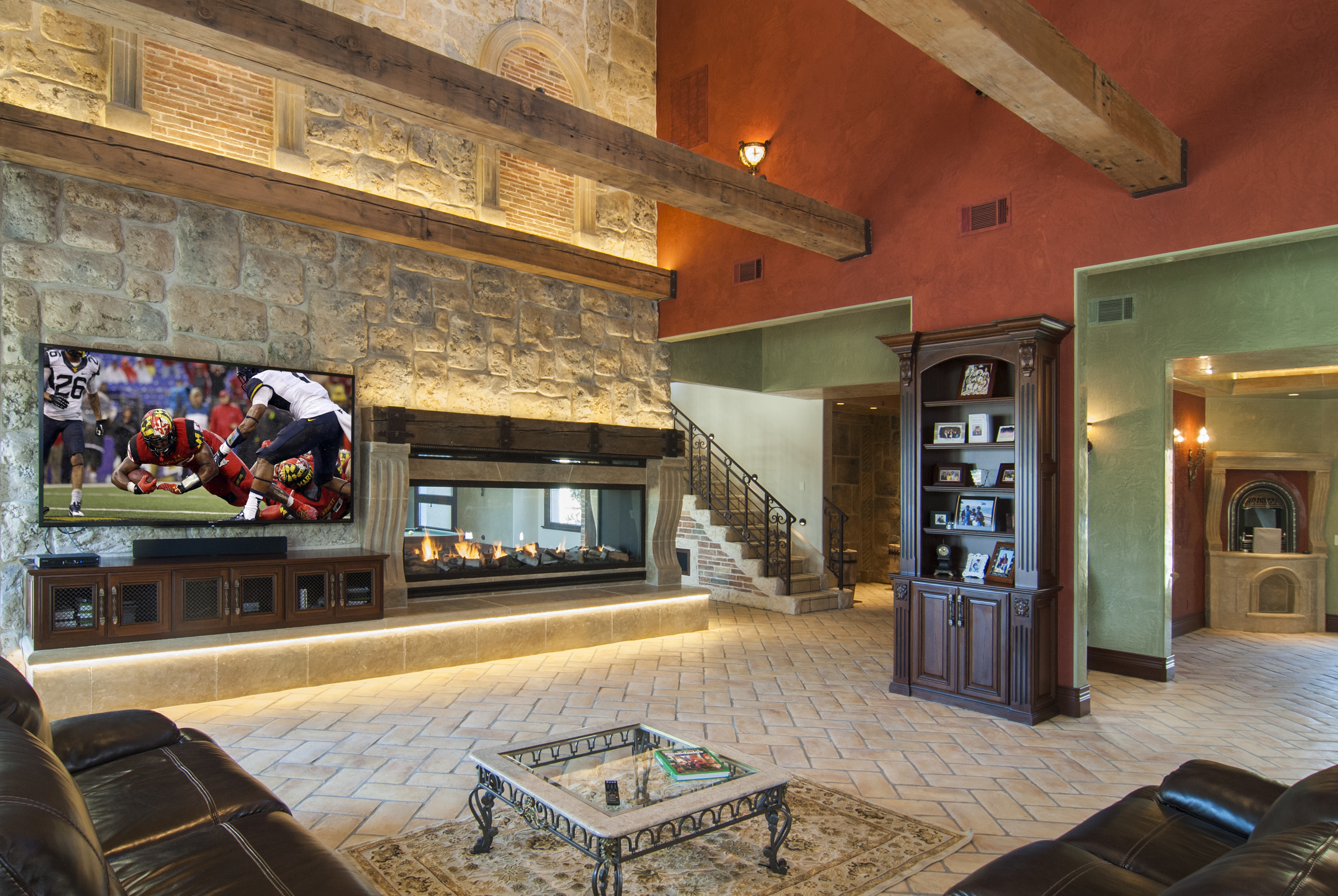 Beautiful Traditional Entertainment Center with Wire Mesh Doors