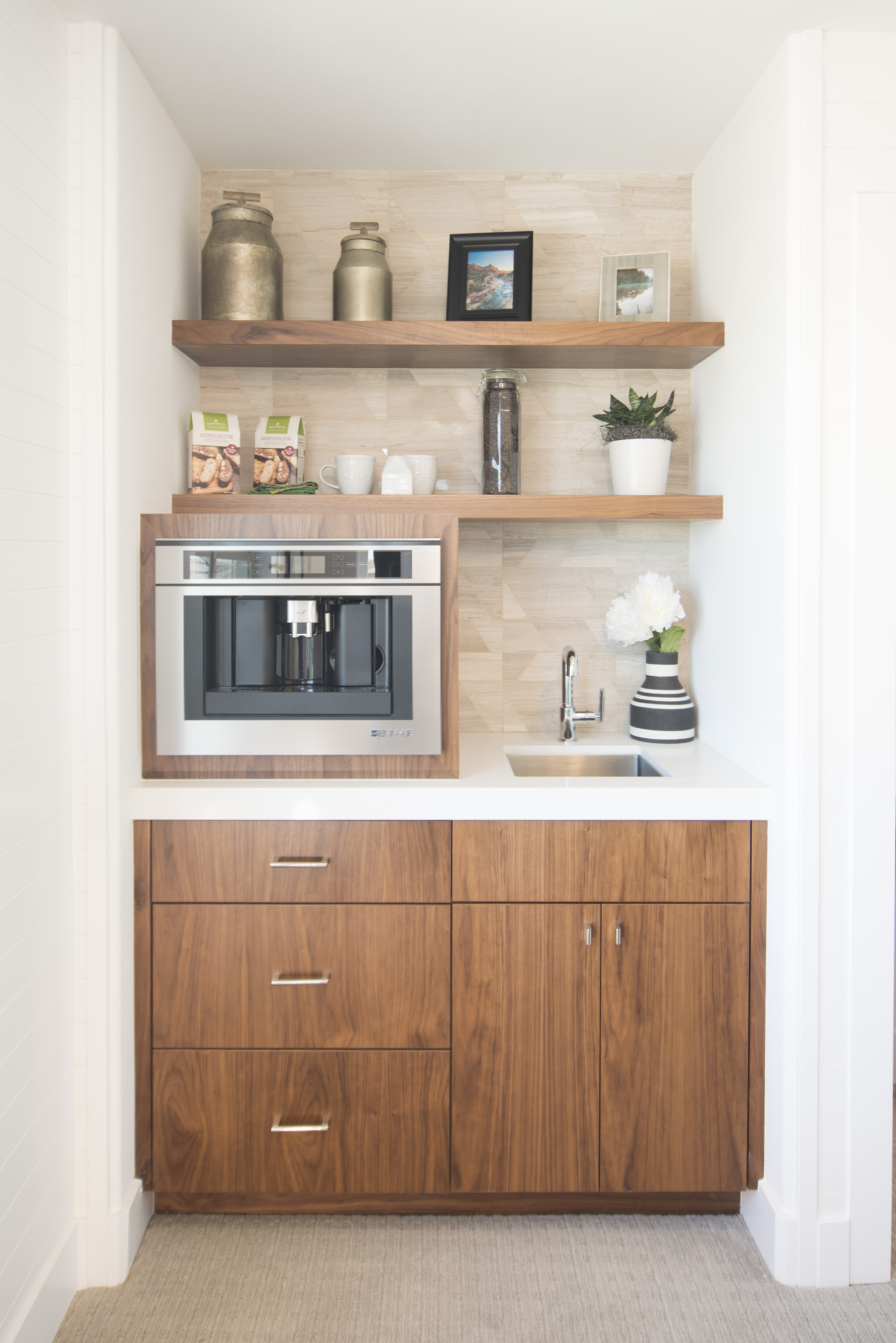 Walnut Contemporary Bedroom Built-in with a Jennar Coffee Machine System and Floating Shelves