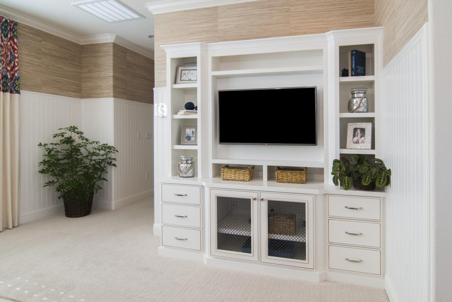 White Transitional Entertainment Center with Open Shelves, Wire Mesh Doors and Silver Hardware