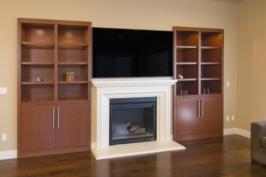 Contemporary Entertainment Center with Open Shelves and a Beautiful White Fireplace Mantel