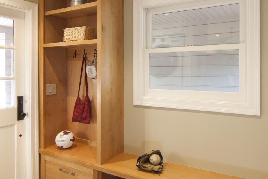 Transitional Mudroom Built-In with Open Shelves and Cubbies for Shoe Storage