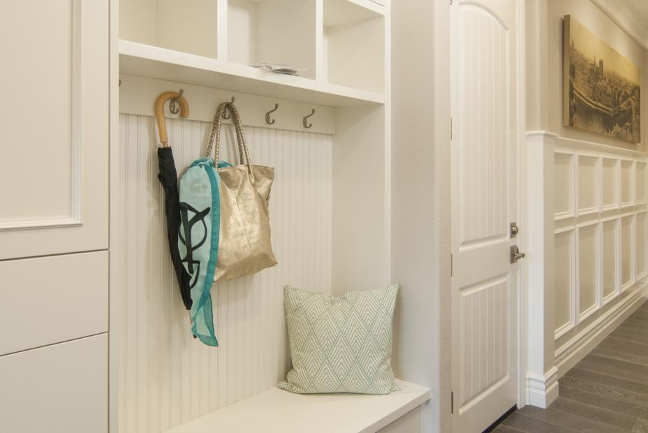 Transitional White Inset Mudroom with Stainless Steel Knobs and Pulls