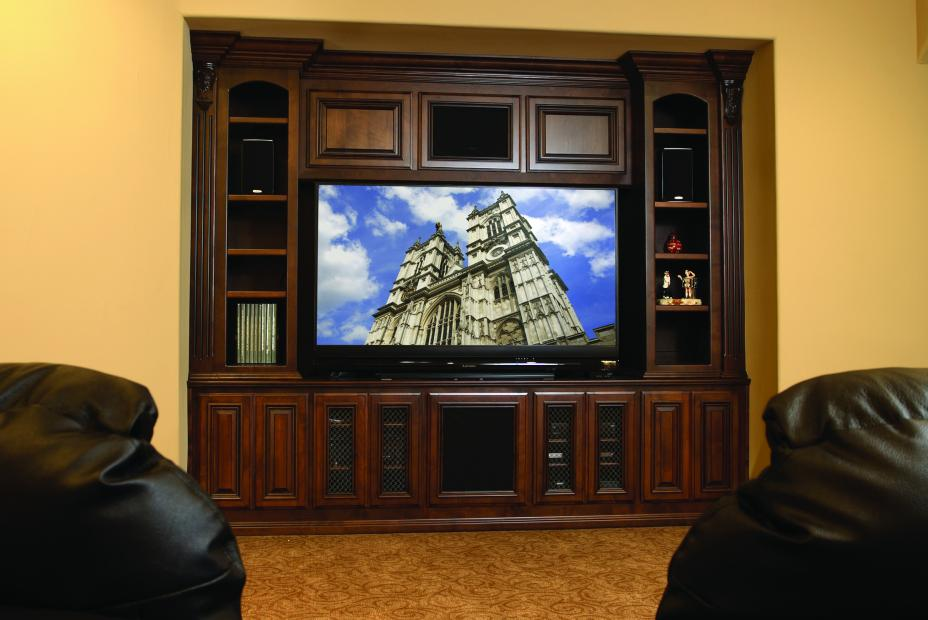 Traditional Stained Entertainment Center with Open Shelves and Wire Mesh Doors
