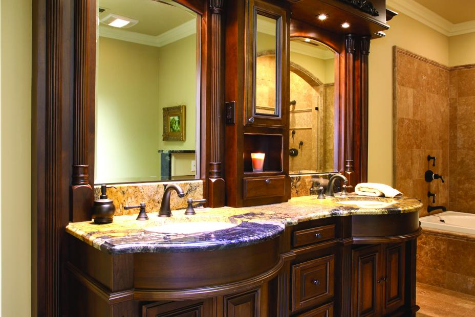 Traditional Stained Bathroom Vanity with a Beautiful Granite Countertop, Double Sinks and Oil Rubbed Bronze Hardware