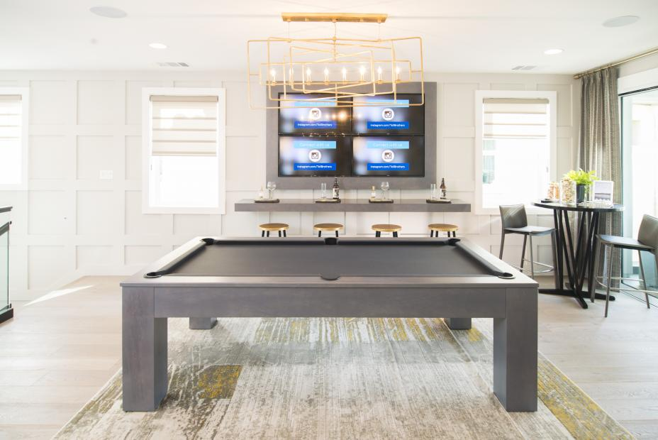 Beautiful Entertainment Center Built in Maple with Matching Floating Shelf and Pool Table