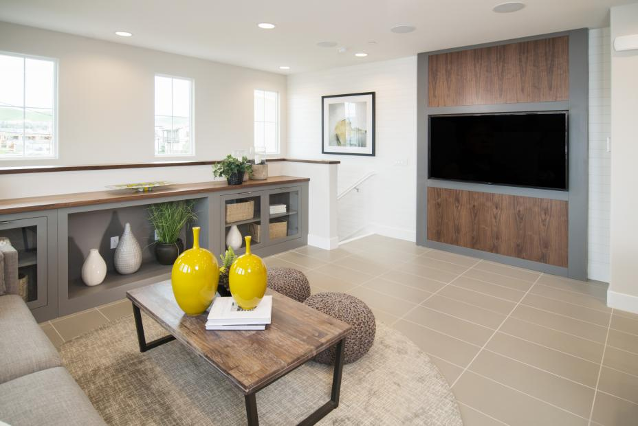 Transitional Painted Grey Great Room Built-In with a Walnut Counter Top, Glass Doors and Amerock Silver Pulls