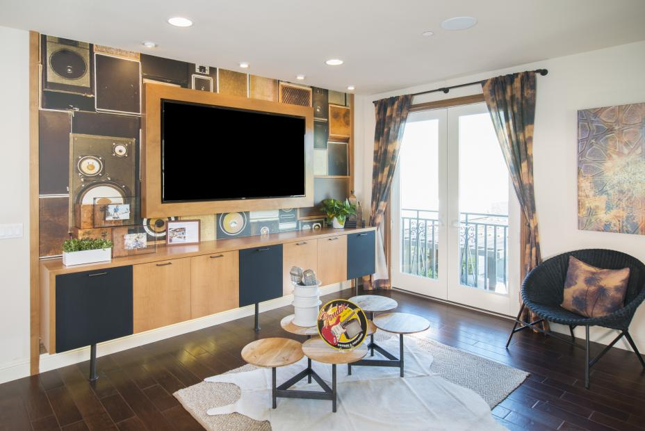 Contemporary Two Toned Entertainment Center with Oil Rubbed Bronze Pulls