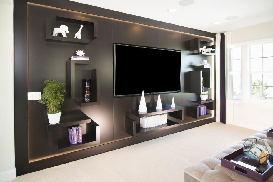 Beautiful Entertainment Center Finished in a Dark Espresso Stain with Floating Shelves