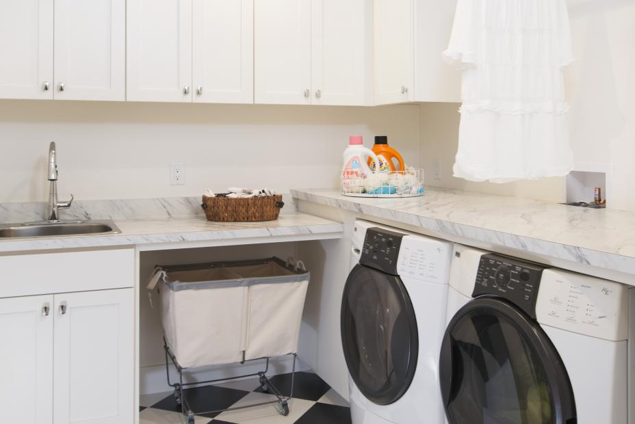 Transitional White Laundry Room with Checkered Floors