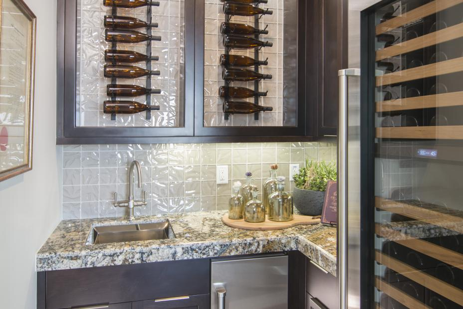 Transitional Wine Bar Room with a Built-In Wine Cellar, Wine Storage and a Beautiful Granite Counter Top