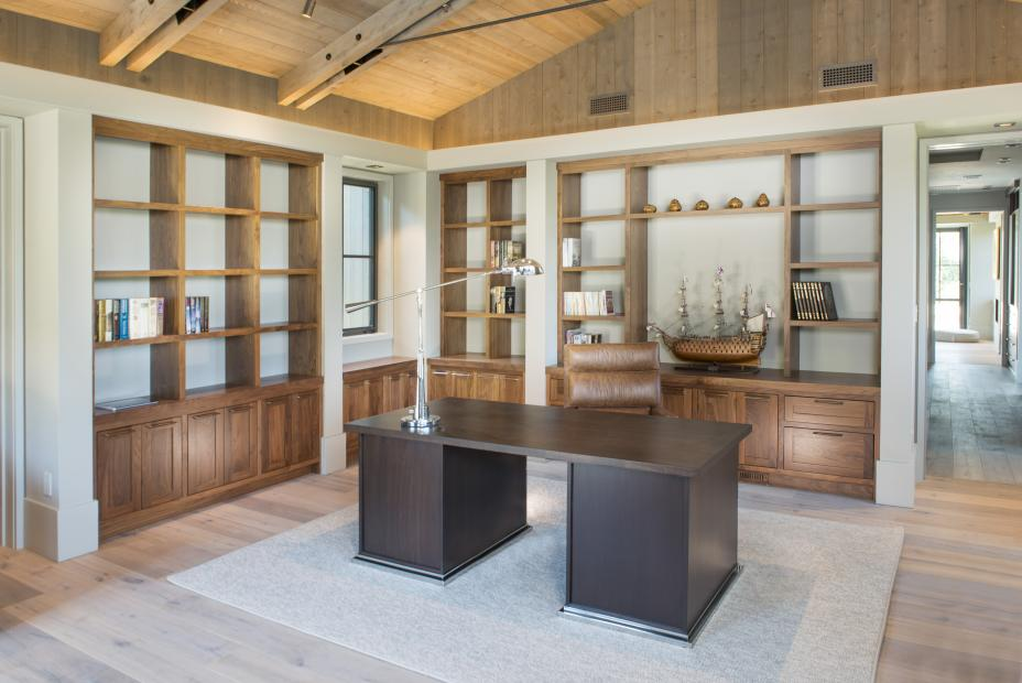 Beautiful Transitional Walnut Office Built-Ins