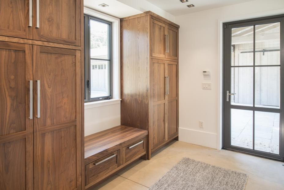 Beautiful Transitional Walnut Mud Room with Bench Seat