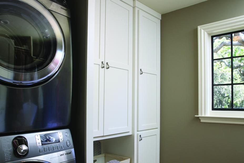 White Transitional, Shaker Style Laundry Room Cabinets with Antique Pewter Hardware Pulls