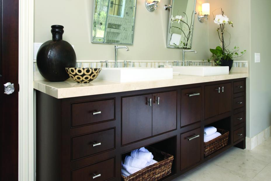Contemporary Stained Master Bathroom Vanity with Double Sinks, an Off White Countertop and Chrome Hardware