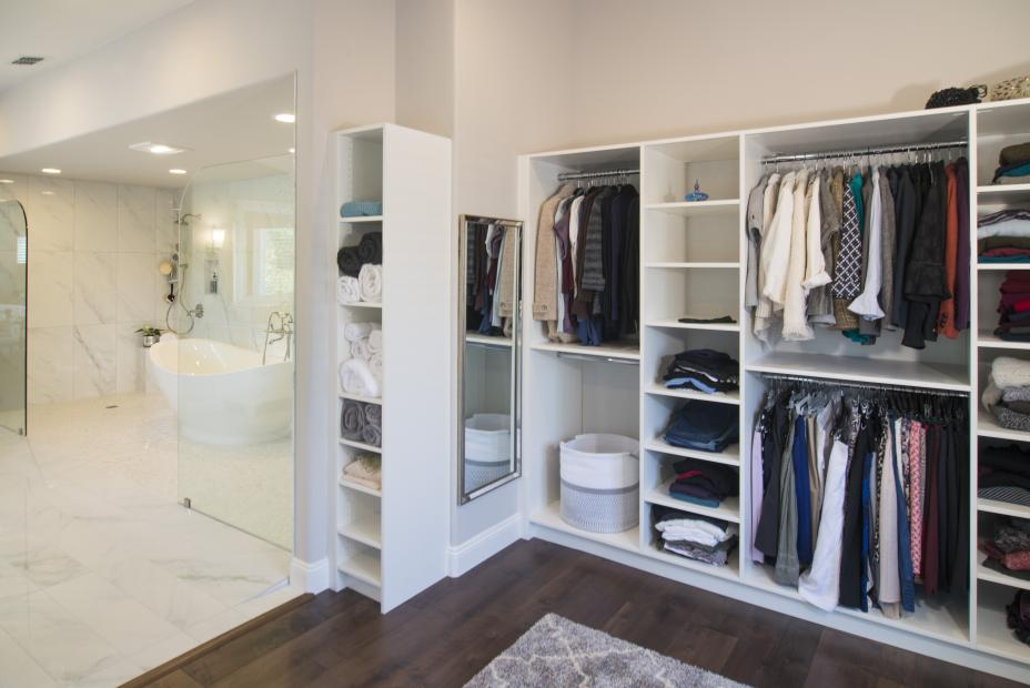 White Walk-In Closet with Extra Storage