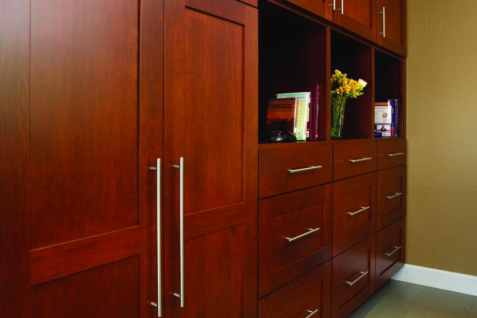 Transitional Stained, Shaker Style Laundry Room Cabinets with Polished Chrome Pulls and Open Shelves