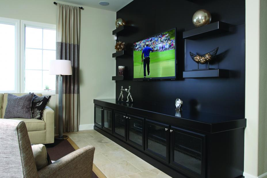 Beautiful Entertainment Center Stained in a Dark Espresso with Floating Shelves and Glass Doors