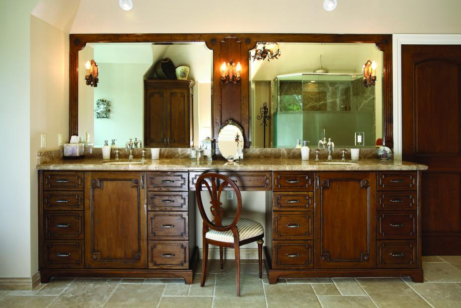Rustic, Stained Master Bathroom Vanity with a Beautiful Marble Countertop and Decorative Hardware