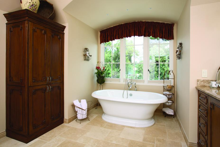 Rustic, Stained Master Bathroom Built-In with Decorative Doors