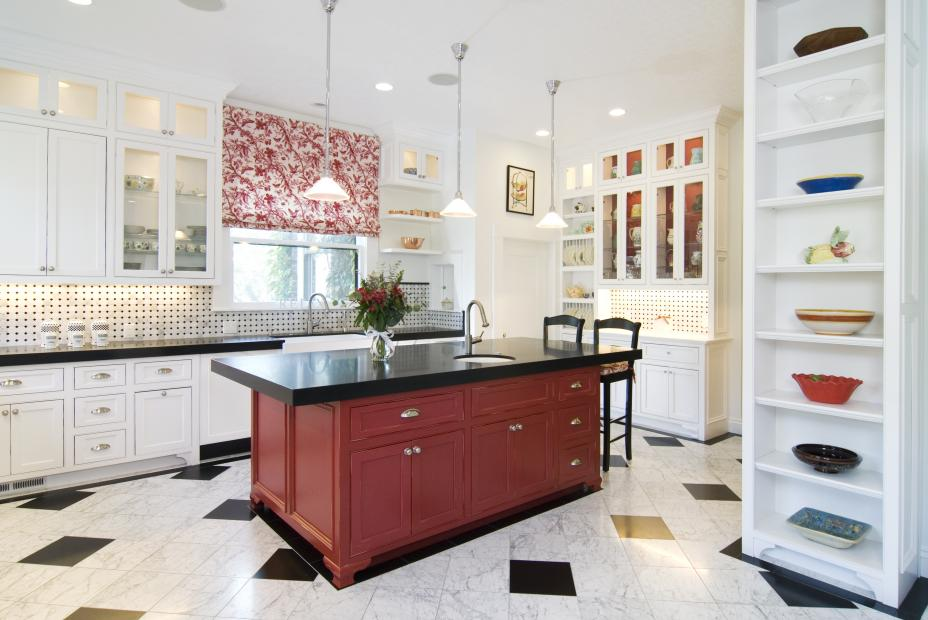 White Transitional Kitchen with a Beautiful Red Island, Black Countertops, Miele and Sub-Zero Appliances