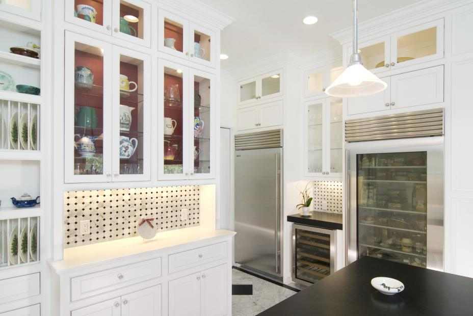 White Transitional Kitchen with Beautiful Built-In Hutch, Glass Doors and Stainless Steel Appliances