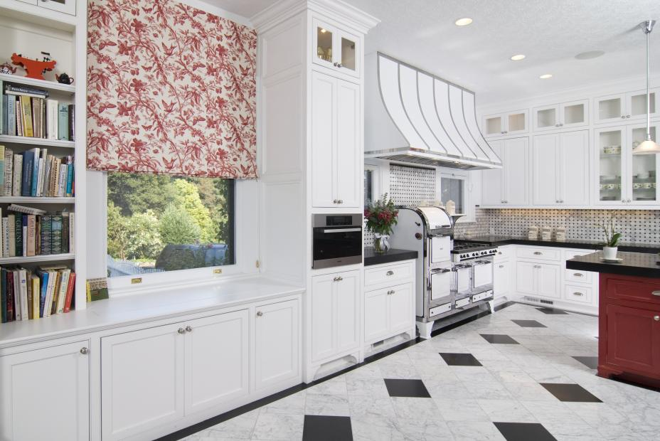 White Transitional Kitchen with Open Shelves and a Built-In Television