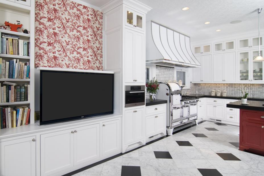 White Transitional Kitchen with a Beautiful Red Island, Open Shelves and a Built-In Television