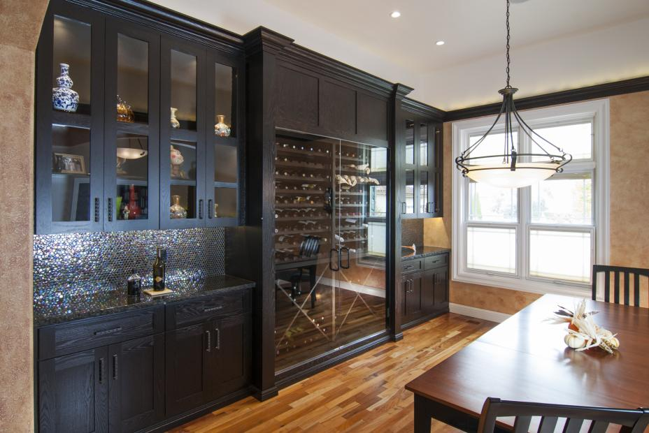 Transitional Wine Bar Built-In, Stained in Brown Java with Beautiful Glass Doors and Wine Storage