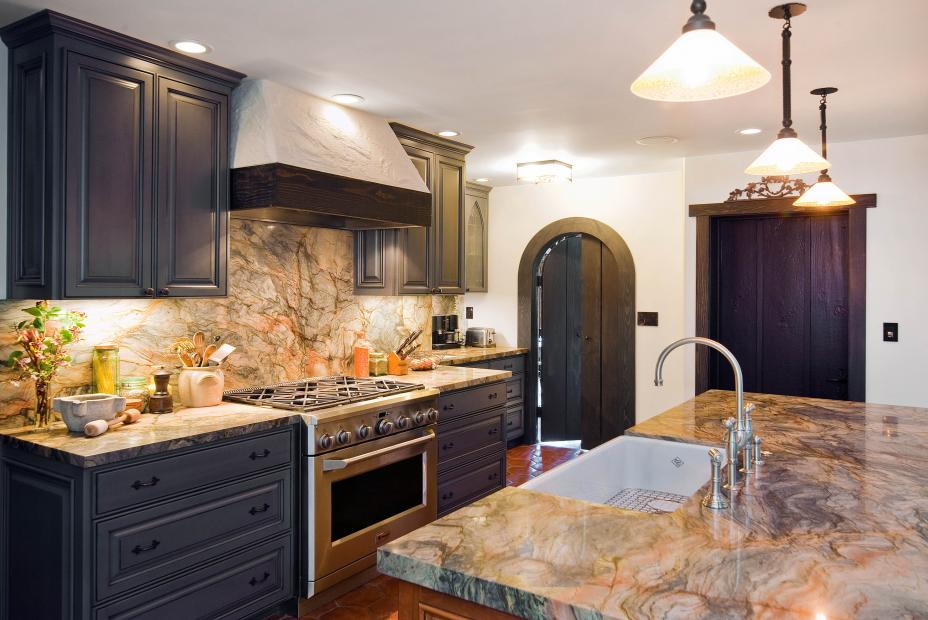 Traditional Dark Grey - Blue Kitchen with Beautiful Granite Countertops and Stainless Steel Appliances