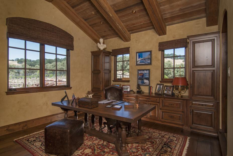 Beautiful, Rustic Traditional Office Built-In with Decorative Hardware