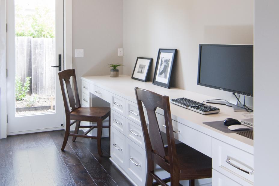 Beautiful White Transitional Office Built-In for Two Work Spaces and Silver Hardware Pulls