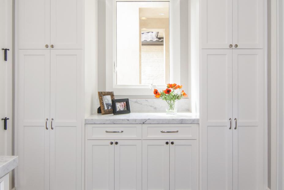 Transitional Laundry Room with a White Built-In and a Beautiful Marble Counter Top
