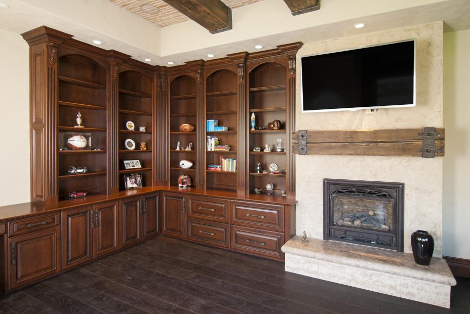 Traditional Office Ceiling Height Built-In with Open Shelves, Fluted Columns and Decorative Hardware