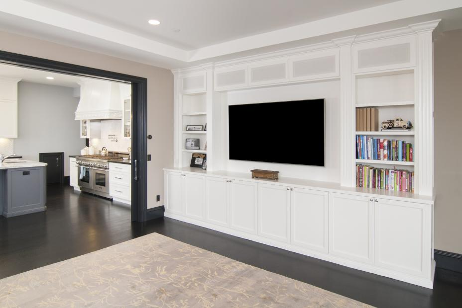 White Transitional Entertainment Center with Open Shelves and Speaker Cabinet Door Frames