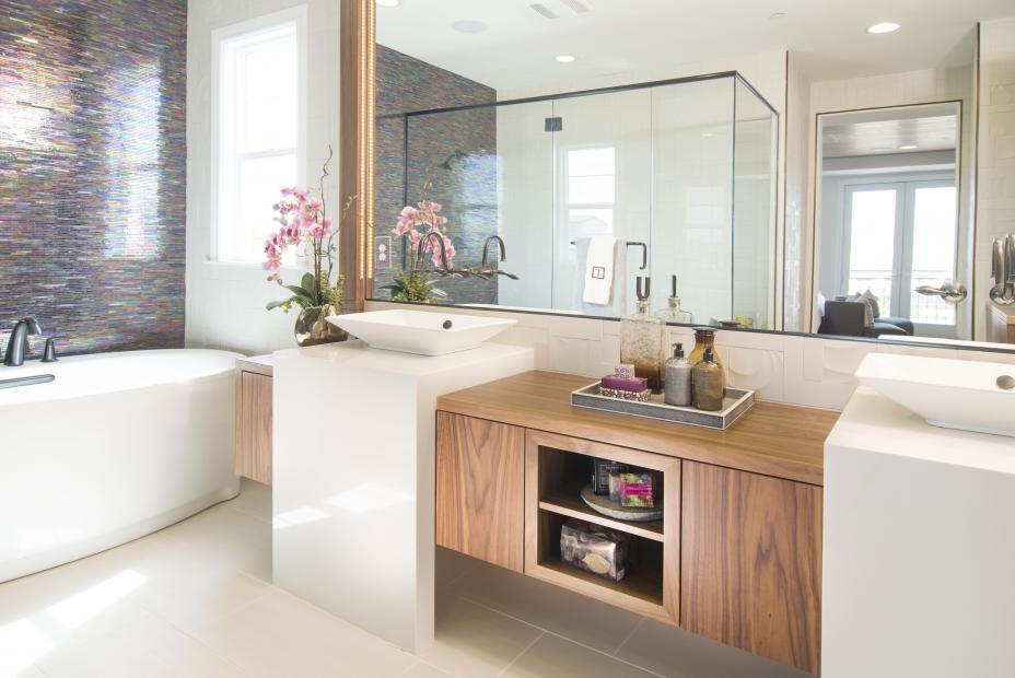Beautiful Contemporary Walnut Master Bathroom with a Mirror Frame and Double Sinks
