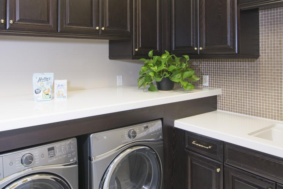 Beautiful Dark Oak Stained Traditional Laundry Room
