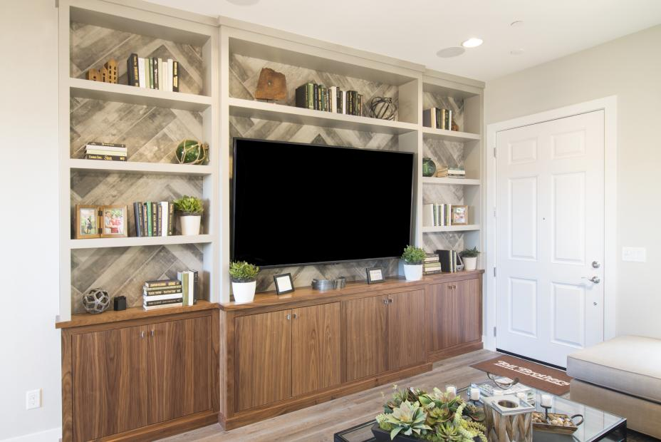 Walnut Contemporary Entertainment Center with Painted Uppers and Open Shelving