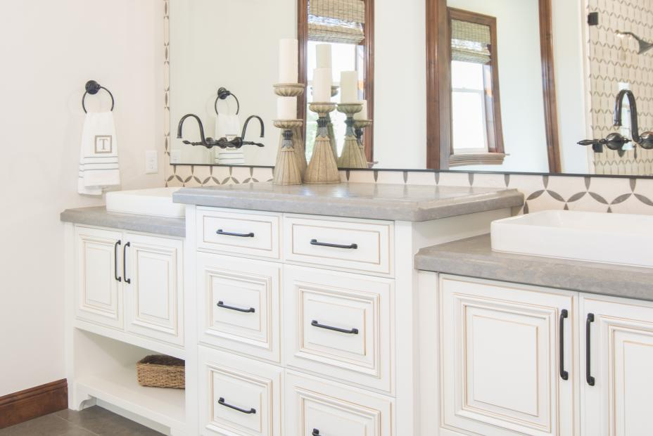 Beautiful White Traditional Master Bathroom with Oil Rubbed Bronze Faucet, Knobs and Pulls
