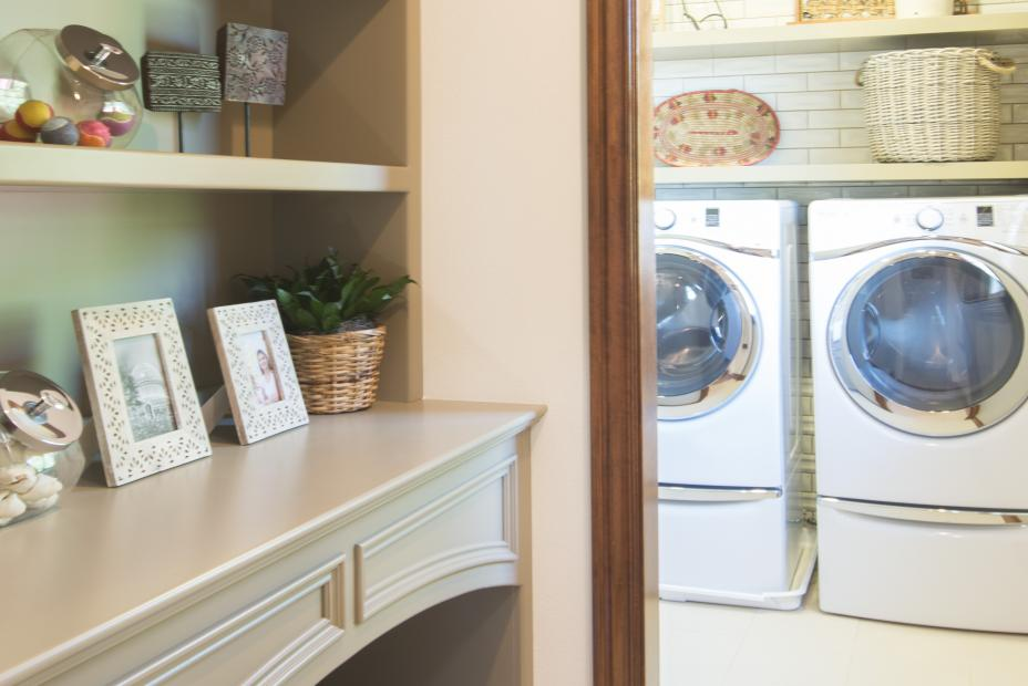 Beautiful Painted Laundry Room Linen with a Built-In Dog Bed