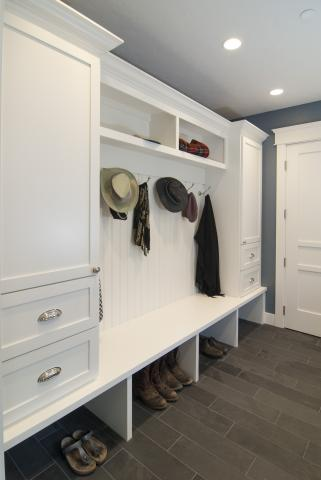 Transitional White Mudroom with Beadboard Backing, Open Cubbies and Silver Hardware