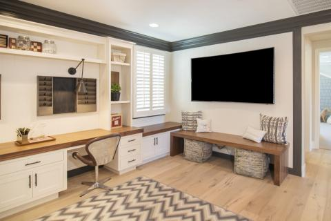 Transitional White Office Built Ins, Shaker Style With Bench Seating,  Walnut Wood Counter