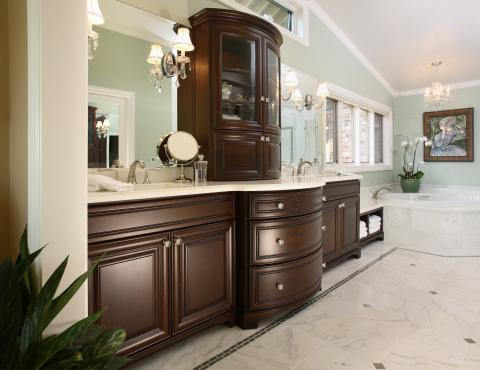 Traditional Chocolate Stained Master Bathroom with Double Sinks, a White Countertop and Diamond Shaped Knobs