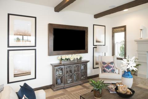 Contemporary Great Room TV Frame Built in Alder and Finished with a Chocolate Stain