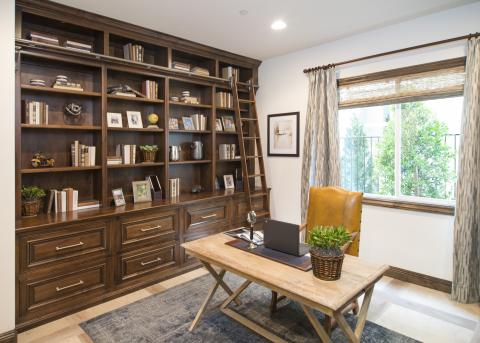 Traditional Office with Built In Shelves and Beautiful Silver Pulls