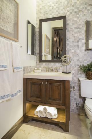 Beautiful Traditional Bathroom Vanity Built In Clear Alder with Silver Pulls and LED Under Cabinet Lighting